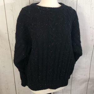 VINTAGE Iveys Black Wool Cable Knit Sweater